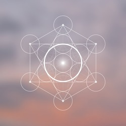 Spirit element symbol inside Metatron Cube and Flower of Life in front of natural blurry background. Sacred geometry futuristic vector design.