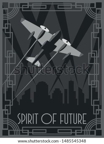 Spirit of Future Aircraft Art Deco Poster Style Retro Futurism Illustration