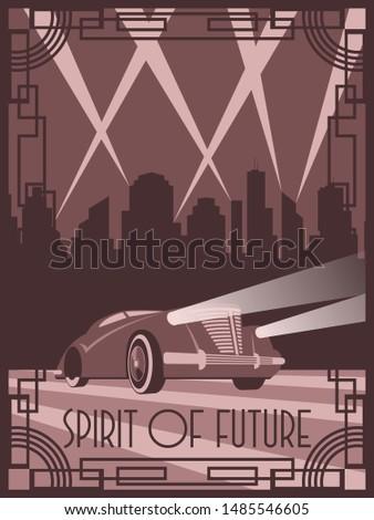 Spirit of Future Car Art Deco Poster Style Retro Futurism Illustration