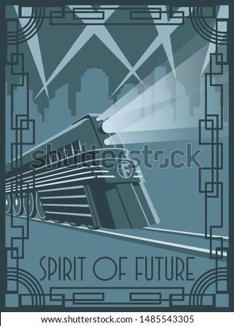Spirit of Future Train Art Deco Poster Style Retro Futurism Illustration