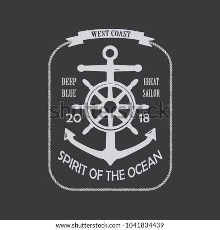 Spirit Of The Ocean Vintage T-Shirt Design Black And White. Vector.