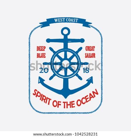 Spirit Of The Ocean Vintage T-Shirt Design Blue. Vector.