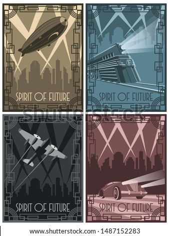 Spirits of Future, Art Deco Style Posters, Zeppelin, Train, Aircraft, Car from the 1920s, 1930s Set of Retro Futurism Placards