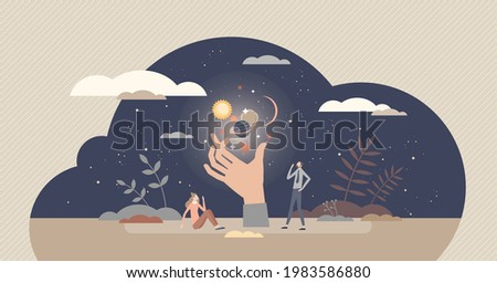 Spiritual experience and supernatural astral moment tiny person concept. Paranormal trip with magical esoteric meditation and inner energy exposure to universe and cosmos at night vector illustration. Stock photo ©
