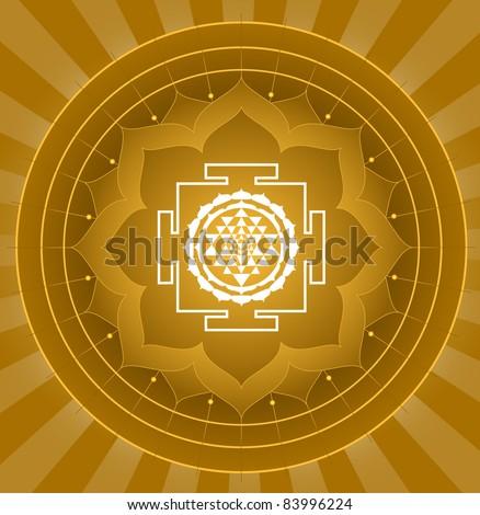 Spiritual Shree Yantra Lotus Design (Vector)