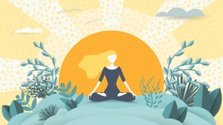 Spiritual therapy for body and mind with harmony yoga vector illustration. Wellness and health in nature. Mentally calm girl on the background of the sun. Balance and serenity of mind and body