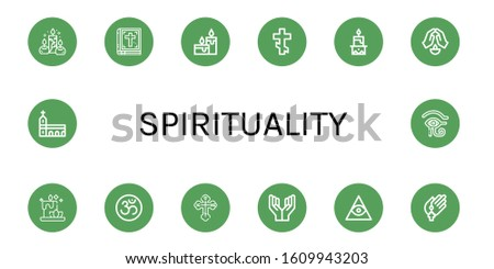 spirituality simple icons set. Contains such icons as Candles, Bible, Orthodox cross, Candle, Prayer, Om, Freemasonry, Monastery, Eye of ra, can be used for web, mobile and logo