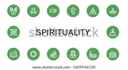 spirituality simple icons set. Contains such icons as Prayer, Pastafarianism, Christianity, Orthodox cross, Freemasonry, Candle, Bible, Crown of thorns, can be used for web, mobile and logo