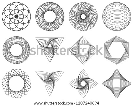 Spirograph patterns set. Vector geometric abstract forms isolated on white. Round and spiral twisted lines. Symmetrical shapes can be used as watermarks. Circular ornament of spirograph.