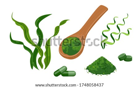Spirulina set of vector illustrations. Wooden spoon with spirulina powder, seaweed pills isolated on white background. Dietary supplement in cartoon flat style. Foto stock ©
