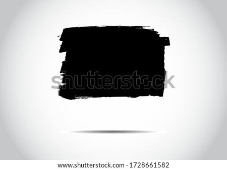 Splash Banner. Place for Your Text. Grunge Brush Stylish Icon. On White Background. Modern Textured Elements. Freehand Shapes. Distressed Banner. Geometric Frame. Black Brush Splash.