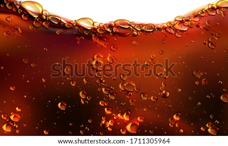 Splash of cola, soda or beer with bubbles. Vector realistic illustration of fizzy drink, champagne, cold carbonated beverage isolated on white background. Wavy flow of liquid brown effervescent water Zdjęcia stock ©