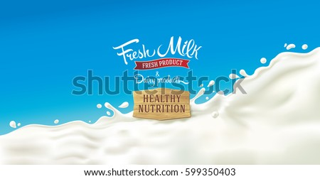 Splash of milk, with a set of inscription as design elements for label or packaging of dairy products