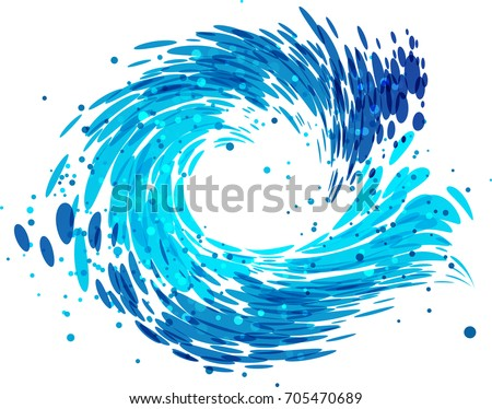 splash round wave on white...