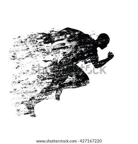 Splash runner silhouette, ink running man. Grungy vector silhouette