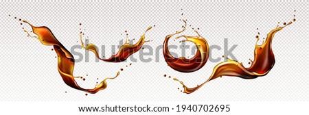 Splashes of cola, coffee, rum or whiskey drinks Zdjęcia stock ©