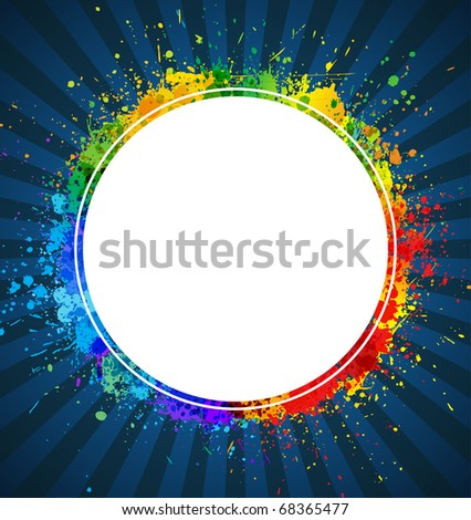 Splashes round background. Color gradient vector frame.