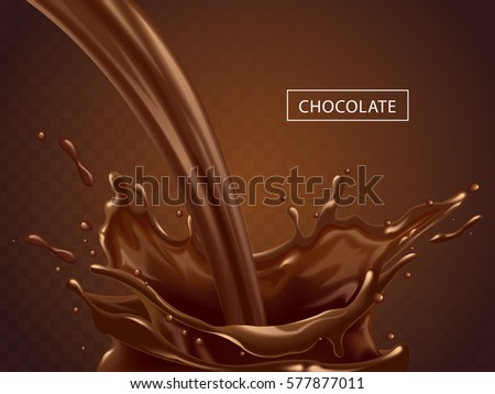 Splashing chocolate liquid, tasty sweet chocolate isolated on transparent background as elements in 3d illustration