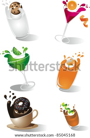 Splashing drinks icons A collection of fun splashing drinks. EPS 8 vector with no open shapes or strokes. Grouped for easy editing.