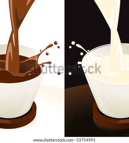 Splashing milk and coffee cup, vector illustration