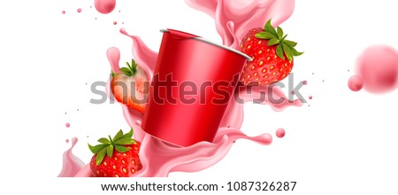 splashing strawberry yogurt