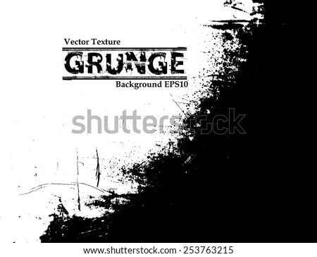 Splatter Paint Texture . Distress Grunge background . Scratch, Grain, Noise rectangle stamp . Black Spray Blot of Ink.Place illustration Over any Object to Create Grungy Effect .abstract vector. #253763215