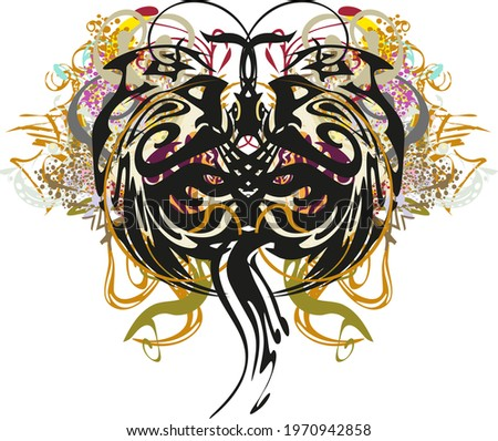 Splattered unusual butterfly wings with floral elements. Abstract dangerous butterfly wings with an unusual pattern for postcards, prints on T-shirts,  textiles, tattoos, wallpaper, etc.