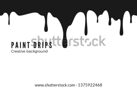 Splatters and Dripping. Black ink drips. Seamless Dripping Paint Texture. Vector illustration isolated on white background