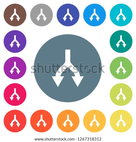 Split arrows down flat white icons on round color backgrounds. 17 background color variations are included.