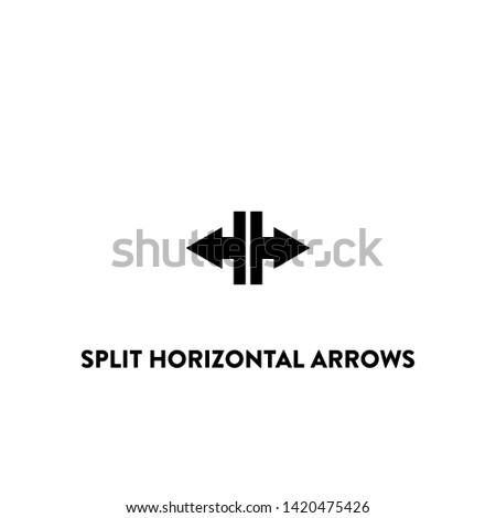 split horizontal arrows icon vector. split horizontal arrows sign on white background. split horizontal arrows icon for web and app