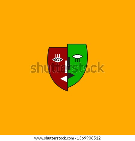 Split personality icon, two half of faces, abstract mask, mental illness icon, schizophrenia, abstract art. Vector pictogram