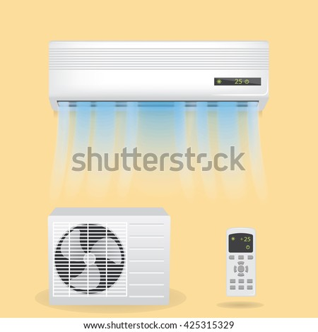 Split system air conditioning, vector illustration.  Including hanging air conditioner object with blowing air, white window conditioner item, remote control