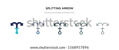 splitting arrow icon in different style vector illustration. two colored and black splitting arrow vector icons designed in filled, outline, line and stroke style can be used for web, mobile, ui
