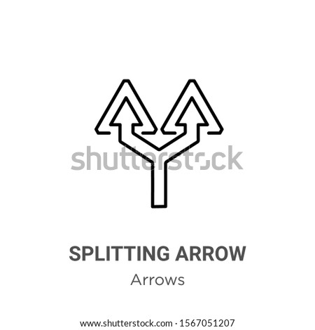 Splitting arrow outline vector icon. Thin line black splitting arrow icon, flat vector simple element illustration from editable arrows concept isolated on white background
