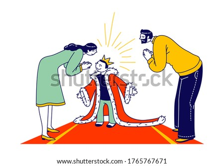 Spoiled Kid Concept. Parent Characters Admire with Child in Gold Crown on Head and Royal Mantle Standing on Red Carpet. Cockered Baby, Egoist Education, Little King. Linear People Vector Illustration Stok fotoğraf ©