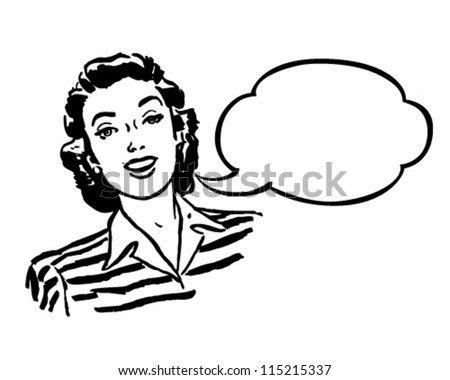 Spokeswoman Retro Clipart Illustration