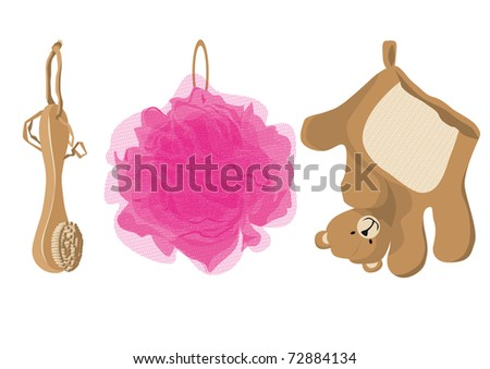 sponge for children in the form of bears and a brush made of natural materials isolated on white background