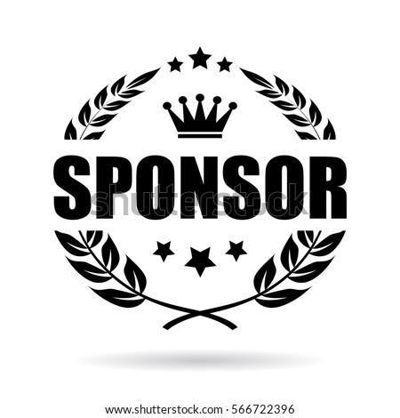 Sponsor laurel business vector icon. Sponsor vector award web emblem.