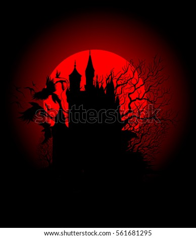 spooky black castle on the