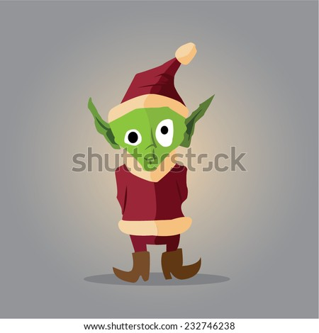 spooky but cute vector elf