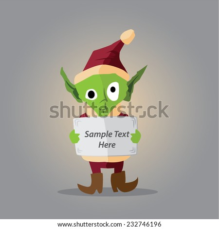 spooky but cute vector elf with