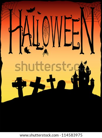 Spooky castle and gravestones. Halloween background illustration