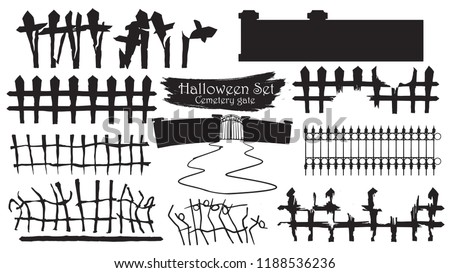 spooky cemetery gate silhouette