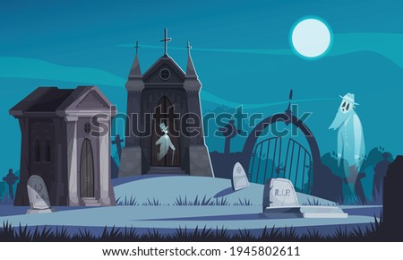 spooky cemetery with old crypts