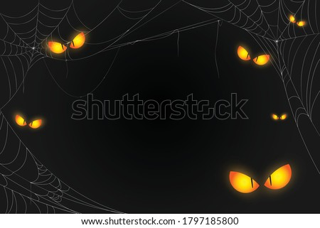 Spooky eyes and cobweb background. The scary of the halloween symbol Isolated on black vector illustration.