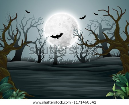 Spooky forest of helloween misty mystery