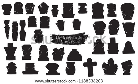 Spooky gravestone cemetery silhouette collection of Halloween vector isolated on white background. scary and creepy tombstone element