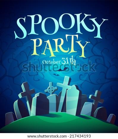 Spooky graveyard. Halloween poster \ background \ card. Vector illustration.