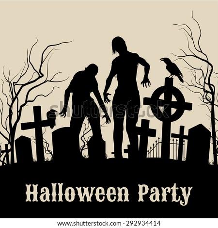 spooky graveyard on halloween