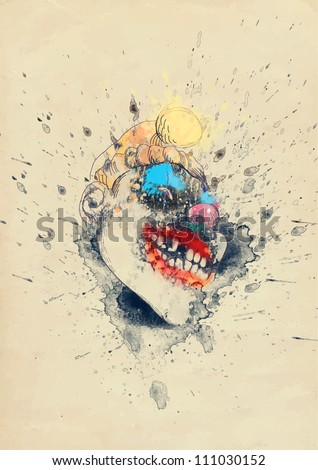 spooky halloween clown or